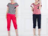 韩版宽松短袖t恤休闲套装 学院风条纹衫 纯棉优质女士夏装新款