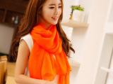 欧美大牌女士长款围巾 超大纯色含真丝微皱丝巾两用披肩 围巾厂家