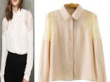 2014夏新品 欧美风印花雪纺衬衫 翻领直筒型单排扣长袖开衫