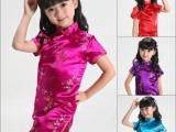 批发儿童唐装夏装 女童演出服中式梅竹小旗袍 玫红色 连衣裙