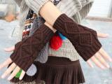 秋冬新款菱形格短款针织半指手套 露指毛线手套 毛线情侣手套