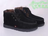 工厂直销 贝克汉姆款正品牛皮羊毛一体雪地靴 男士系带棉鞋保暖鞋