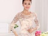 厂家直销批发 2014秋季新款长袖蕾丝女雪纺衫女士长袖T恤打底衫
