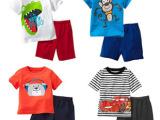2015夏款男童女童韩版童套装 儿童纯棉套装 卡通短袖儿童T恤套