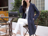 秋季新品条纹小西装女中长款BF风西服外套韩国OL职业显瘦风衣大衣