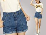 夏季热卖高腰牛仔短裤女夏mm韩版大码宽松显瘦卷边热裤潮一件代发