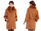 2013新款秋冬装仿狐狸毛领羊毛呢子大衣中长款外套中老年装批发女