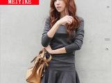 2014韩国秋装 潮新款女装 时尚修身显瘦v领纯色长袖连衣裙 打
