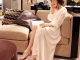 韩版SZ波西米亚风格新款白色性感露腿修身丝棉雪纺长裙连衣裙