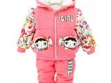 新品上架冬季女童加绒加厚棉衣两件套女宝宝童套装1-3岁厂家批发