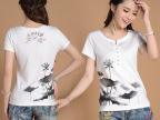 夏季新款女装短袖T恤 民族风V字领白色钉珠修身型女式短袖t恤批发