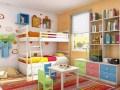 广州白云区韩森派全屋定制儿童房榻榻米高低床上下床衣柜书柜