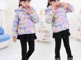 2014女童装冬款 韩版可爱迷彩棉服耳朵帽  保暖加厚棉衣 一件