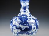 景德镇陶瓷器 青花瓷龙纹落地大花瓶 仿古客厅装饰品摆件 大号