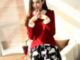 2014秋装新款假两件打底连衣裙长袖修身显瘦韩版猫咪连衣裙