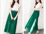 欧洲站女装夏季雪纺拼接圆领背心裙 百褶裙长裙子 清新绿色连衣裙