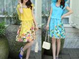 2014夏季蕾丝网纱短袖连衣裙宝石领假两件印花短裙