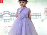 夏新六一儿童表演出服装幼少儿主持人女童公主紫裙庆典礼服送手套