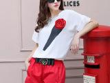 韩国代购 欧洲站 立体玫瑰花高腰娃娃衫蓬蓬短裤2件套 新款套装