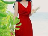 夏装新款 性感深V领收腰度假裙波西米亚沙滩裙雪纺连衣裙5272