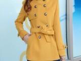 2014秋冬新款女装呢大衣 韩版修身女装外套 立领毛呢上衣外套女