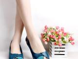 2014夏新款大码凉鞋40码-43女士坡跟真皮鱼嘴单鞋大号休闲女