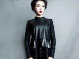批发采购2014新款绵羊皮蕾丝衫拼接真皮打底衫黑色修身圆领甜美