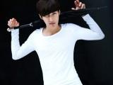 韩版紧身弹力纯色打底衫男士长袖T恤 男式休闲纯棉圆领体恤衫男装