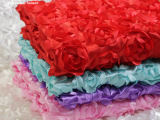 立体玫瑰花婚庆地毯布 婚庆舞台背景纱幔3D花朵布料现货