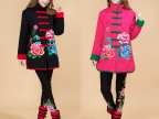 新款冬装中年女式民族风棉袄刺绣花唐装棉衣外套中长款加厚棉服女