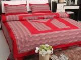 中国结纯棉老粗布四件套特价加厚韩版盘扣被套婚庆大红床品4件套