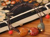 景德镇陶瓷饰品 花釉编织陶瓷手链 民族风饰品批发 心形手链