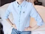 日系森女小清新刺绣小船锚纯色修身长袖衬衫