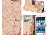 工厂现货 iphone6皮套 苹果6保护套 4.7 地图纹 插卡