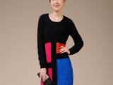 冬季新款 高端OL通勤拼色打底毛衣裙 中长款貂绒衫毛织连衣裙批发