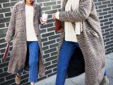 2015风衣韩版女式千鸟格大衣宽松西装领加长款毛呢外套加厚全棉