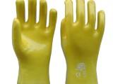 PVC浸塑手套批发 黄色光面耐油耐酸碱手套