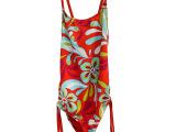 嘉桥外贸尾单 碎花纯色一体式儿童泳衣 女孩连体泳衣套装 现货