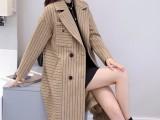 秋冬大衣2018新款韩版时尚条纹中长款加厚毛呢大衣女呢子外套