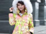 2014新款冬季韩版军工连帽短款羽绒服女迷彩羽绒服 冬装厂家直销