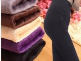 加绒加厚打底裤女冬高腰外穿黑色打底裤显瘦双层保暖一体裤 裤