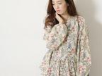 日本外贸原单女装娃娃衫宽松大码长袖碎花衬衫棉麻衬衣女