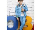 2014秋冬新款韩版拼接格纹儿童羽绒服羽绒内胆上衣+羽绒长裤套装
