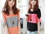 2014新款夏装 瑞丽 日韩女装 爆款大码蝙蝠袖宽松长款短袖T恤