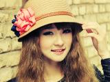 夏季 新款女士草帽花朵草编中沿遮阳盆帽防晒沙滩帽潮流帽子批发