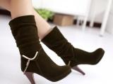 春秋冬季新品 中筒靴女士单靴 高跟修腿高