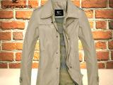 一件代发2014秋装男装中长款七皮狼夹克薄外套男韩版立领商务风衣