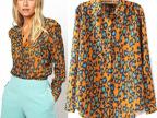 现货批发 2014新款欧美女式衬衫 橘色豹纹时尚长袖雪纺衬衣