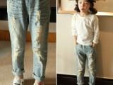 小贝可 童裤 牛仔裤2015春装新款韩版儿童百搭水洗磨破宽松长裤