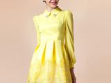 2014春装欧美女孩大牌 翻领气质修身欧根纱拼接长袖连衣裙C23